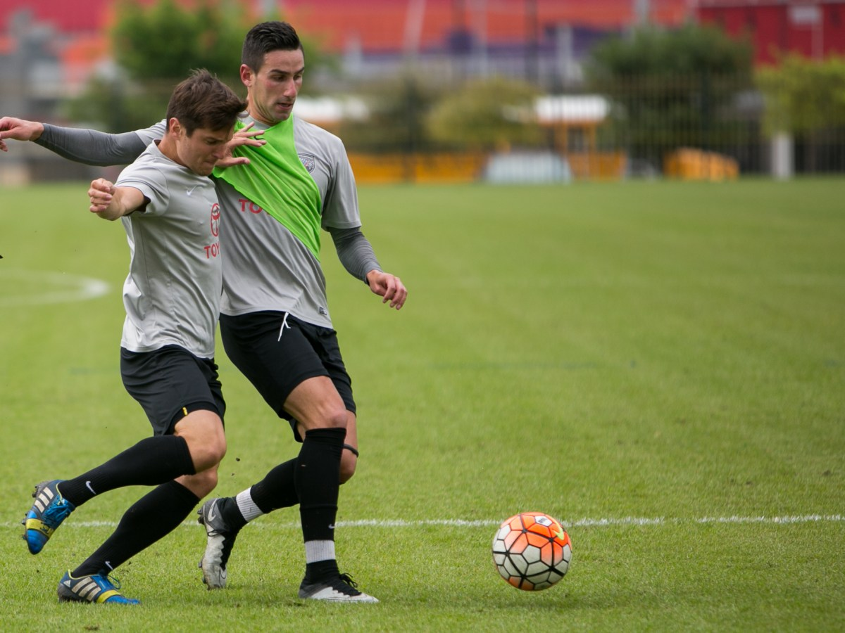 Midfielder Manolo Sanchez races to the ball at practice. Photo by Kathryn Boyd-Batstone