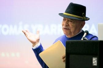 Scholar Tomás Ybarra-Frausto speaks about the many Latino artist in San Antonio. Photo by Kathryn Boyd-Batstone