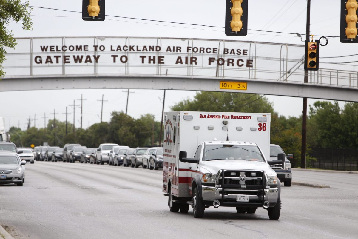 Scene outside Lackland Air Force Base on Friday morning, April 8, 2016. Photo by Scott Ball