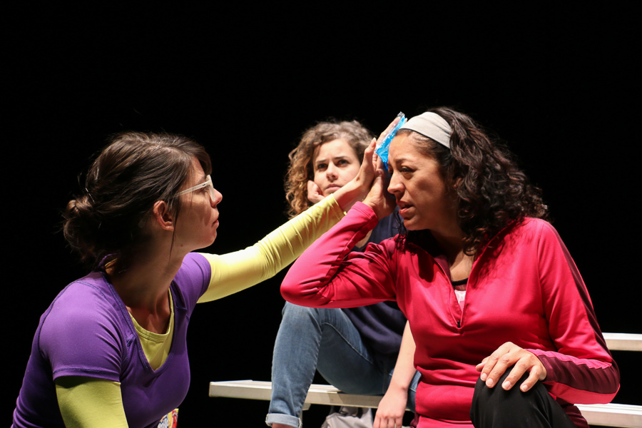 """Actresses, Georgette Lockwood (left), Maggie Tonra (center), and Anna De Luna (right) rehearse for their upcoming performance in """"Soccer Mom;"""" An AtticRep play directed by Marisela Barrera at the Tobin Center for Performing Arts. Photo by Bria Woods."""