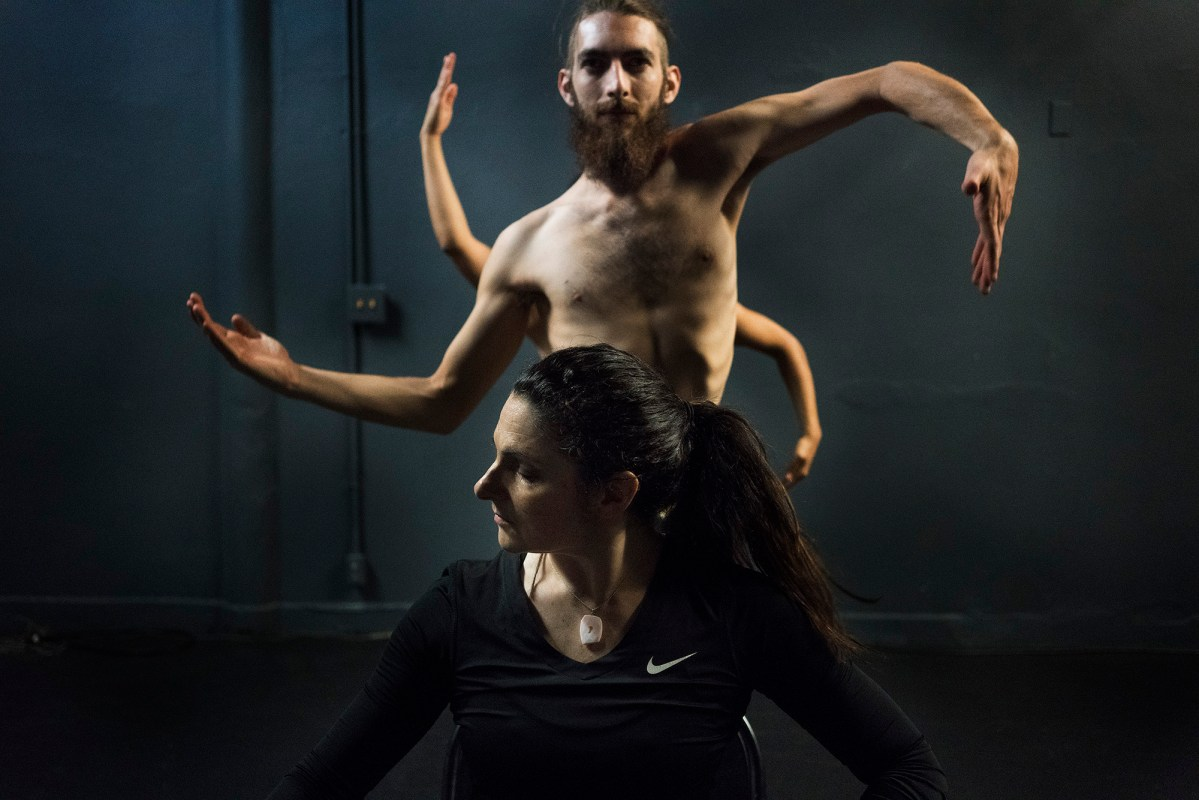 "Dancers Tamara Adira, Stephan Gaeth, Rochelle Banuet perform Shiva Sits, part of Arte y Pasión's production, ""Colores"". Photo by Kathryn Boyd-Batstone"
