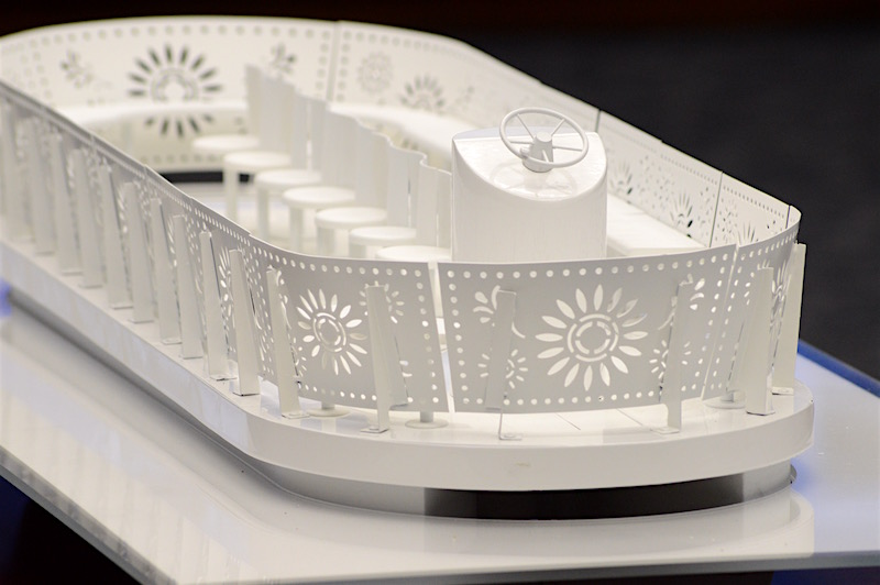 A model of the new river barge design by METALAB. Photo by Lea Thompson.