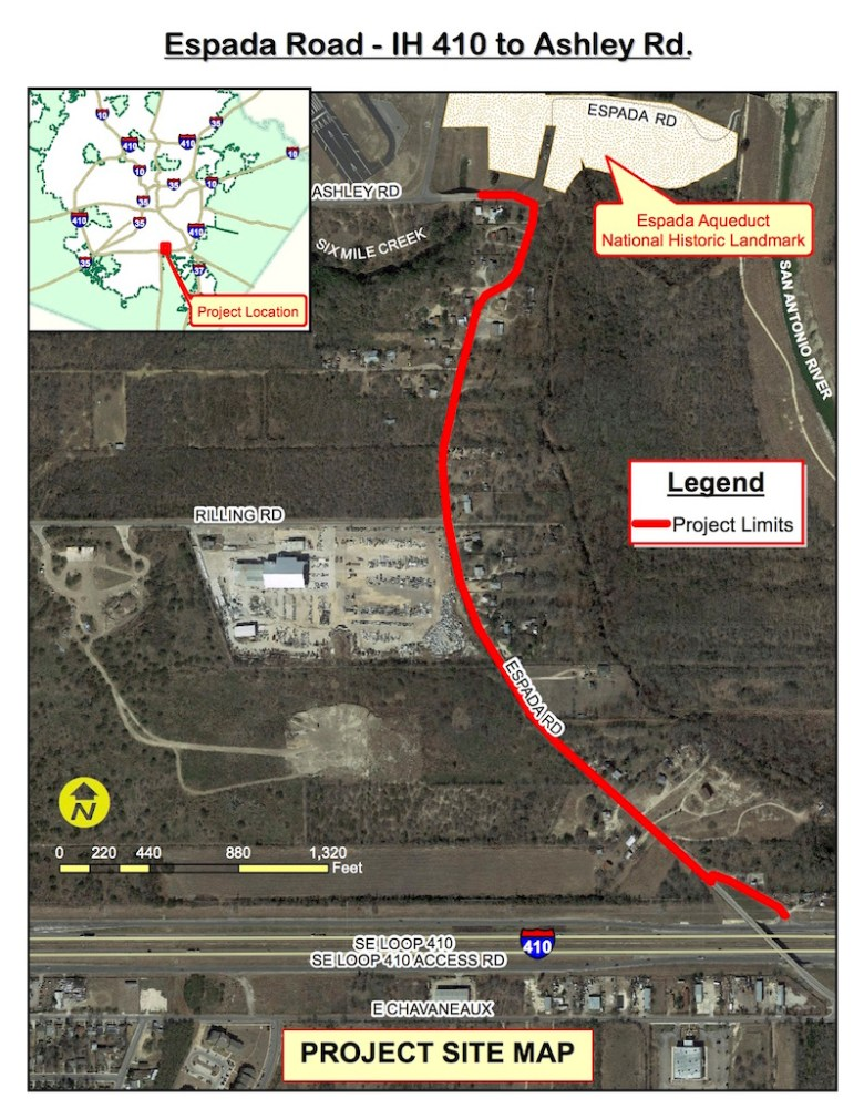 Espada Road Construction to start in May 2016. Graphic courtesy of Transportation and Capital Improvements.