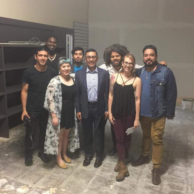 Members of the first Las Raices gather in SASG's new home.  (Councilman Medina center and Bombasta leader Robert Livar far right).  Photo courtesy of SASG