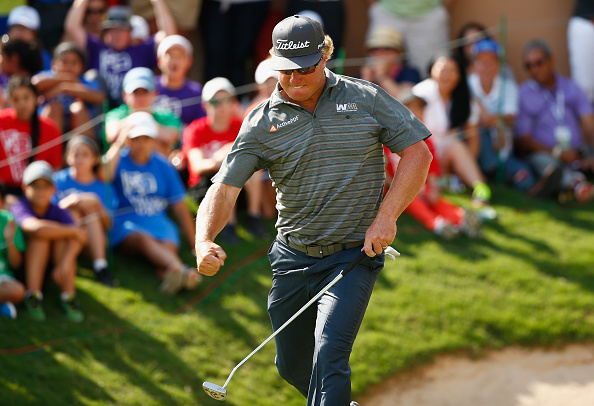 Charley Hoffman reacts to his putt on the 18th hole during the final round of the Valero Texas Open at TPC San Antonio AT&T Oaks Course on April 24, 2016 in San Antonio, Texas. (Photo by Scott Halleran/Getty Images)