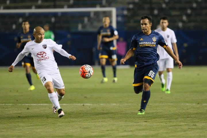 San Antonio FC's ____ and LA Galaxy II's approach a play during the game on Wednesday, April 13, 2016 in Carson, Calif. Photo courtesy of United Soccer League.