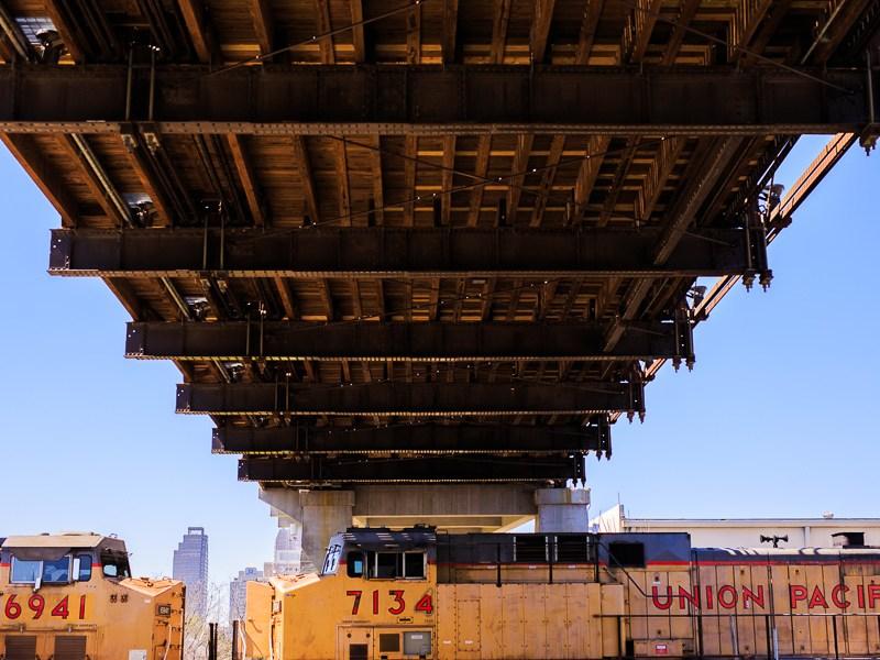 A Union Pacific train passes underneath the Hays Street Bridge. Photo by Scott Ball.