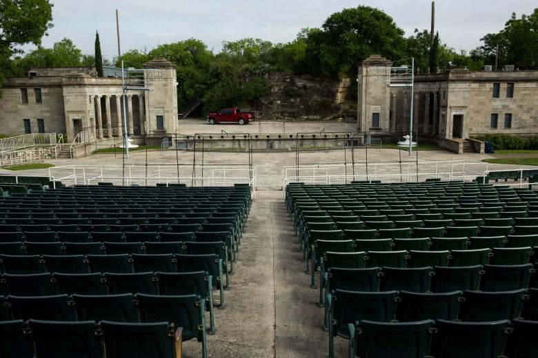 The Sunken Gardens Theater prepares for the Fiesta event Taste of New Orleans. Photo by Scott Ball.