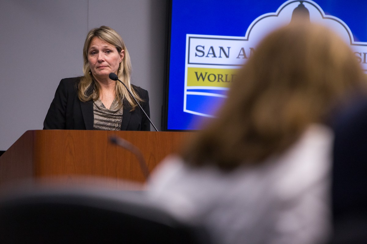 World Heritage Director Colleen listens as Councilwoman Shirley Gonzales (D5) responds. Photo by Scott Ball.