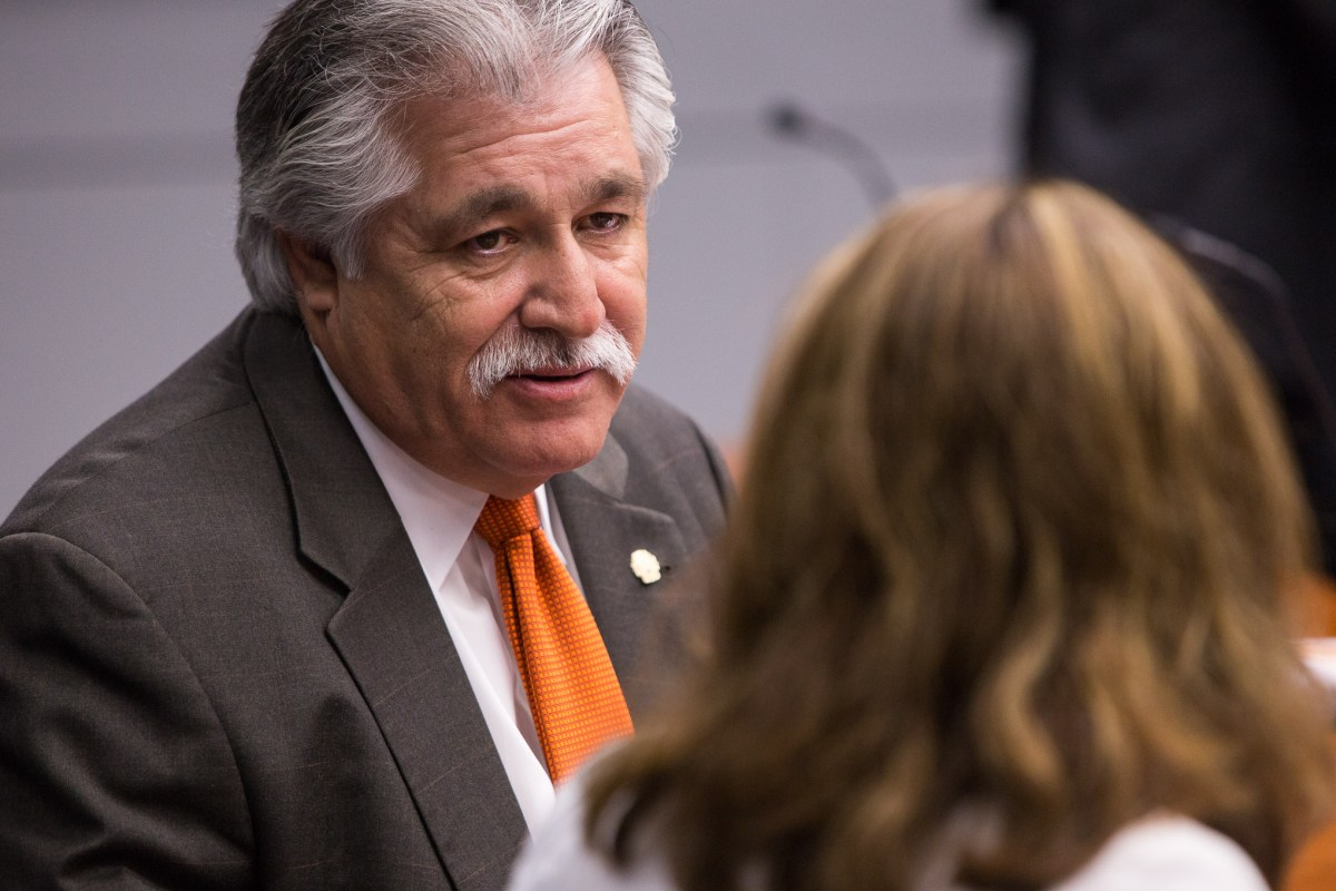 Councilman Ray Lopez (D4) speaks with Councilwoman Shirley Gonzales (D5). Photo by Scott Ball.