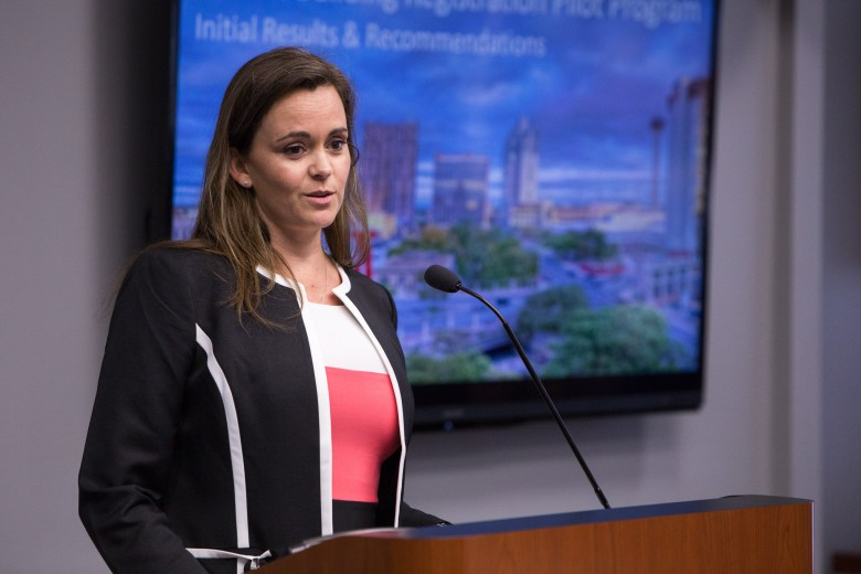 Shanon Miller, director of the City's Office of Historic Preservation (OHP), briefs City Council during Wednesday's B session. Photo by Scott Ball