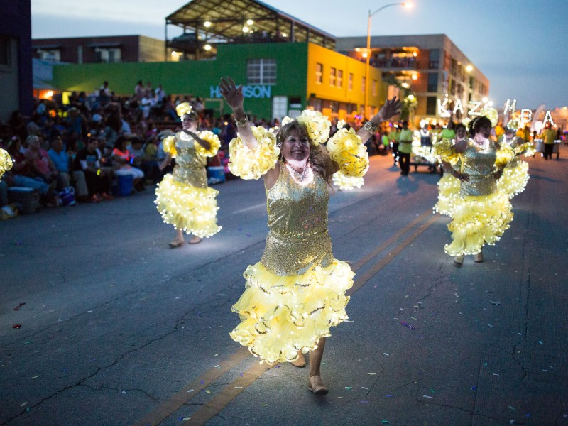 The Yellow Roses perform a dance on Broadway. Photo by Scott Ball.