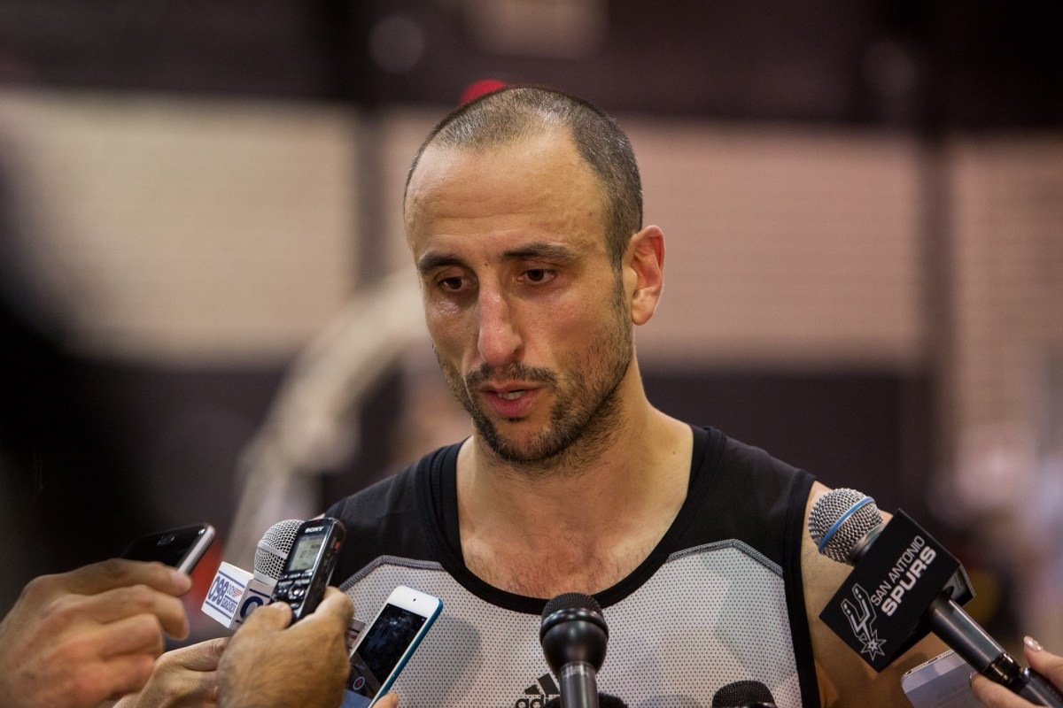 Spurs Forward Manu Ginobili speaks to the toughness of their next opponent, Oklahoma City Thunder during practice on April 27th, 2016. Photo by Scott Ball.