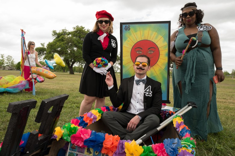 Contestants from OCI Solar sit in their lotería themed float. Photo by Scott Ball.
