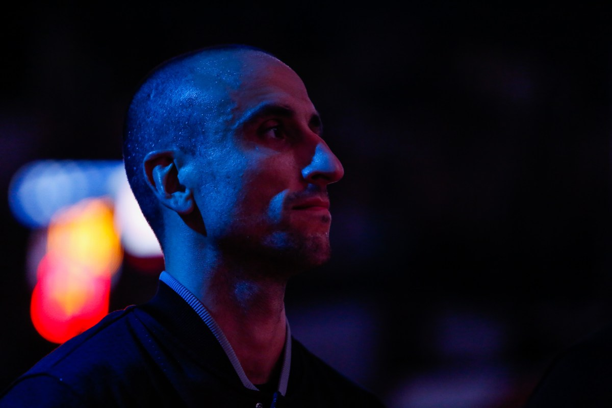 Spurs Forward Manu Ginobili looks forward moments before tip-off. Photo by Scott Ball.