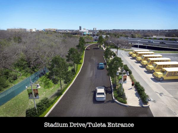 Proposed Stadium Drive / Tuleta entrance - after. Courtesy of Brackenridge Park Conservancy.