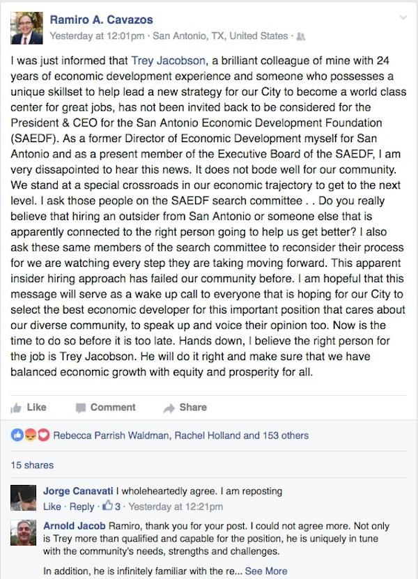 Facebook post by Hispanic Chamber of Commerce CEO Ramiro Cavazos.
