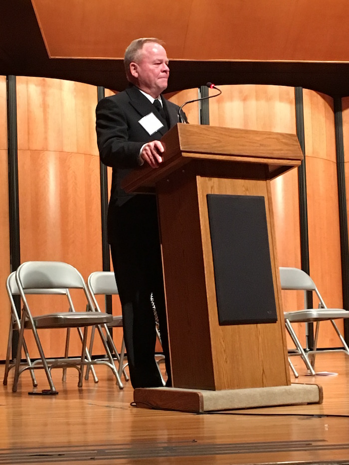 Calvin W. Lambert thanks students and supporters after receiving the Trinity Prize for Excellence in Teaching. Photo by Bekah McNeel