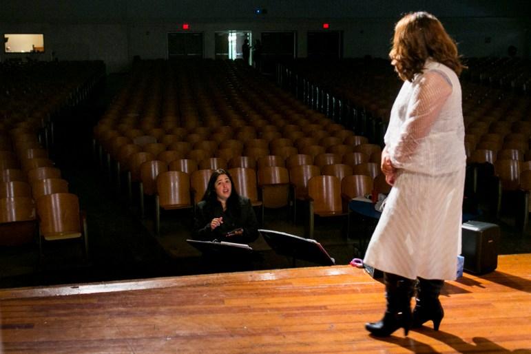 Vocal Director Isabel De La Cerdan works with Isabel Balderas on a song. Photo by Kathryn Boyd-Batstone