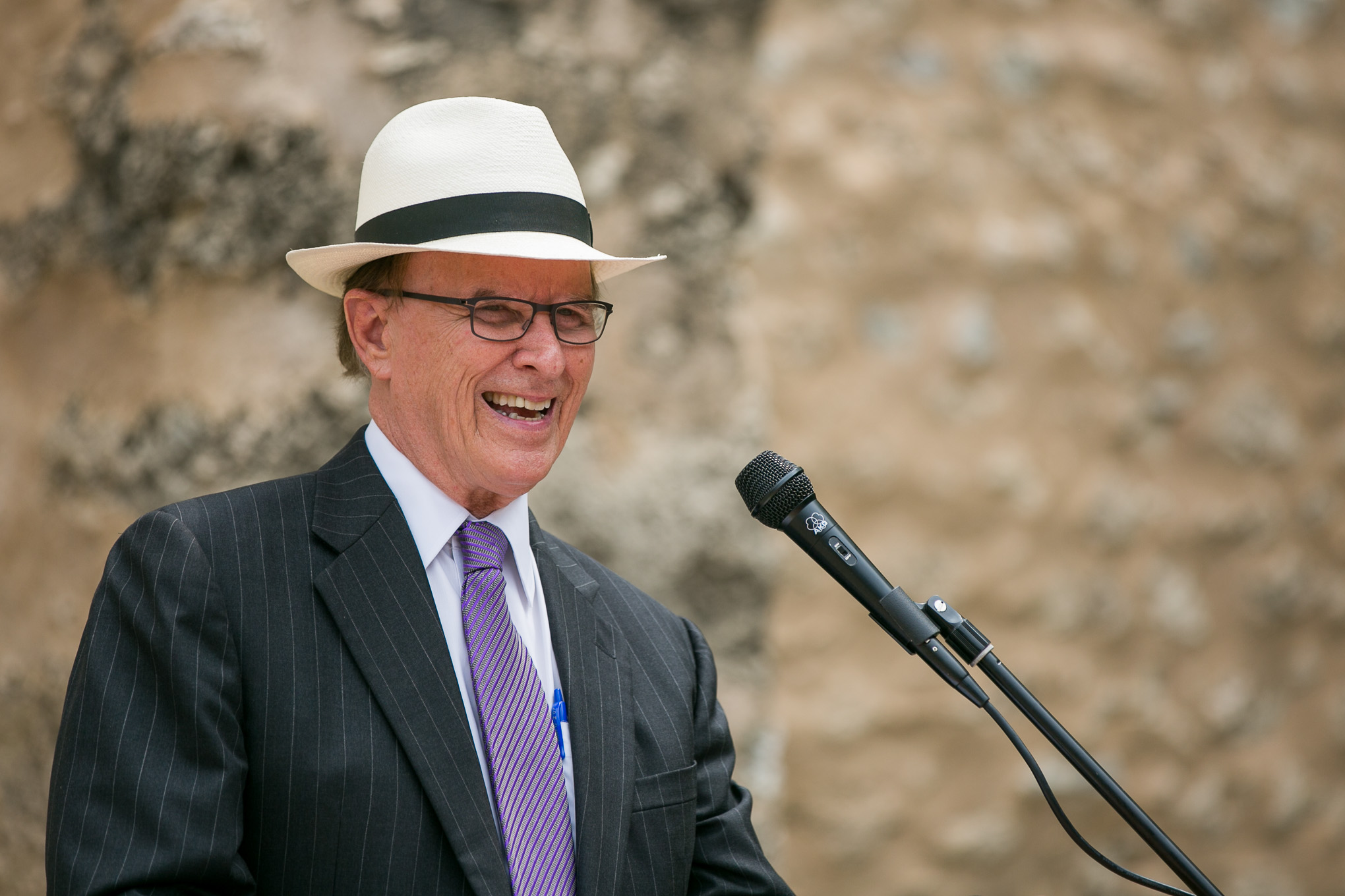Bexar County Judge Nelson Wolff makes a joke about being able to vote more than once. Photo by Kathryn Boyd-Batstone