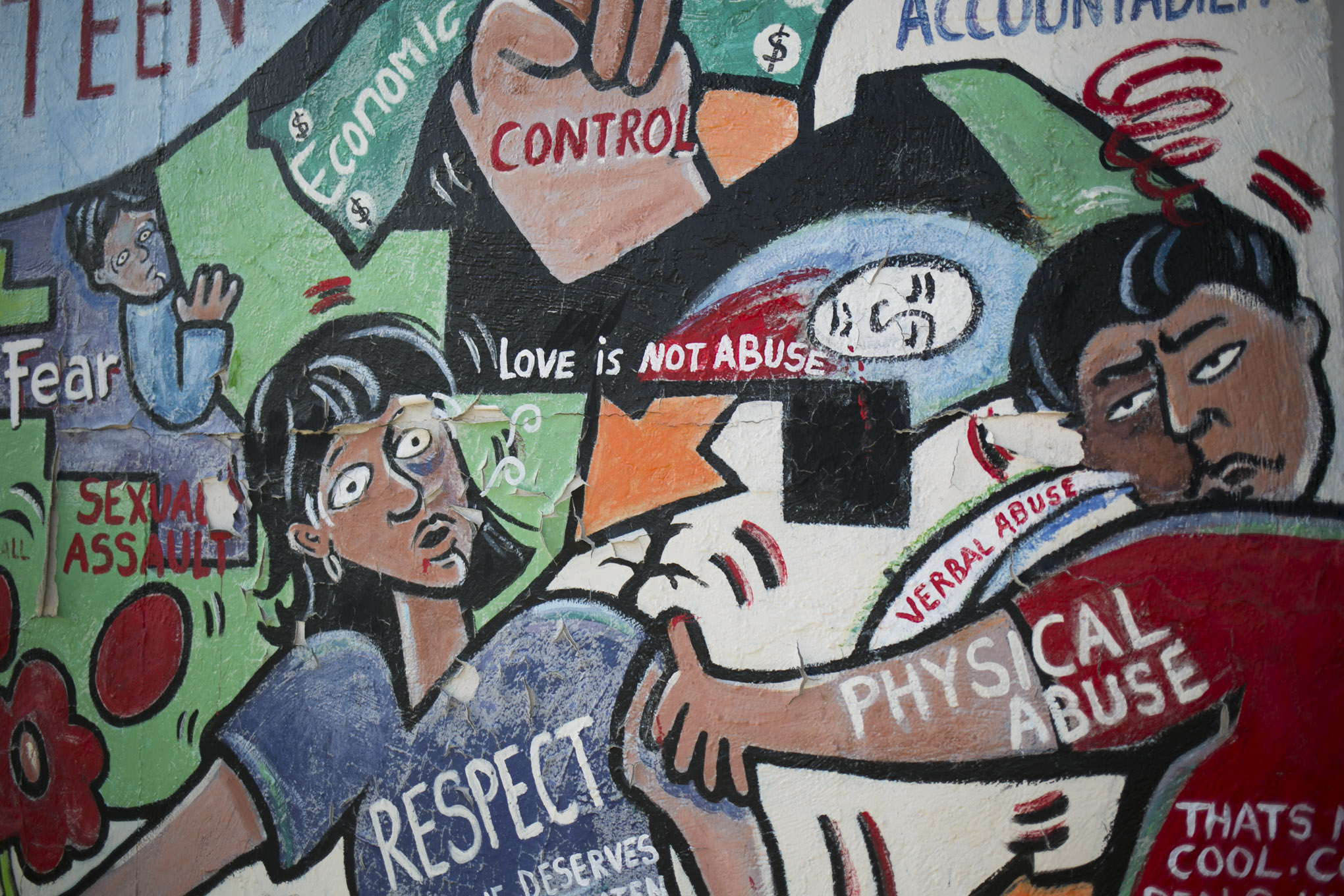 """A section of the mural """"Breaking the Cycle"""" at the corner of South Zarzamora and San Fernando streets painted by lead muralist Mary Agnes Rodriguez in 2002. Photo by Kathryn Boyd-Batstone."""