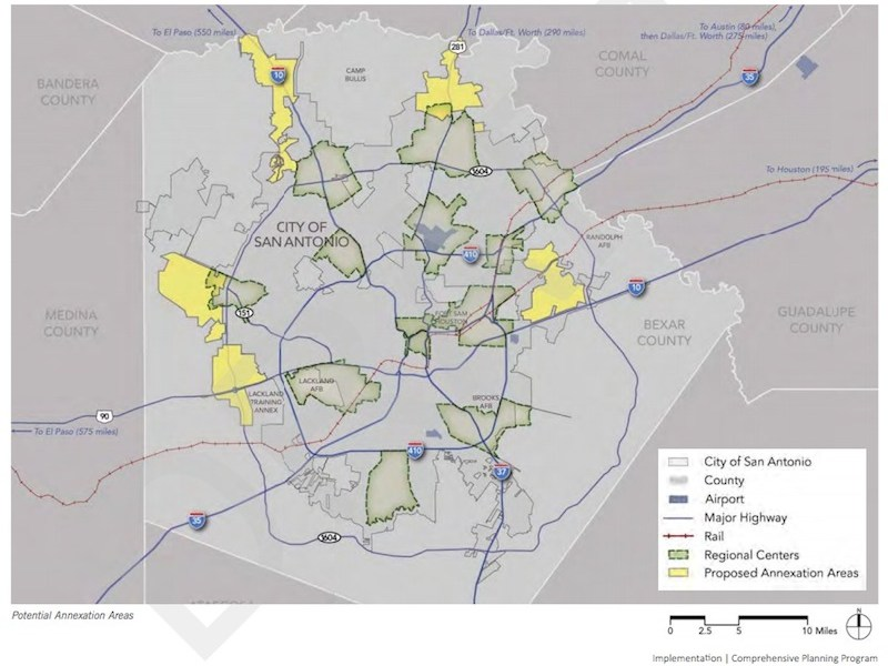 Map of proposed annexation areas in the SA Tomorrow Comprehensive Plan draft.