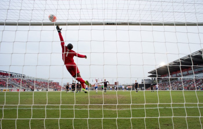 Josh Ford defends San Antonio FC's net against a wide shot from Grande Valley FC Toros on Wednesday at Toyota Field. Photo by Darren Abate for USL.