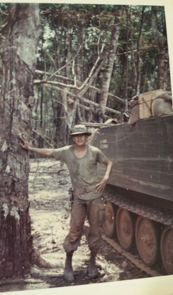 Sgt. Fernando Herrera poses for a picture in Boiloy Woods, Vietnam for his mother so she would know he was okay. Boiloy Woods was known to have a high concentration of North Vietnamese soldiers circa 1968. Photo courtesy of Sgt. Fernando Herrera.