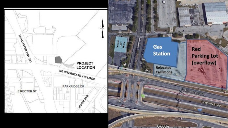 Maps of the proposed gas station, convenience store, and fast food restaurant provided by the City of San Antonio.