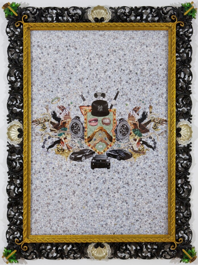 Grand Marquis of Brooklyn, 2011, collage in customized antique frame. Photo courtesy of Rashaad Newsome.