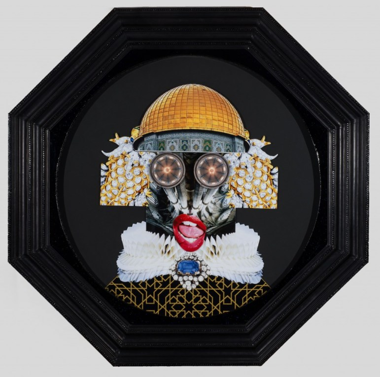YAAAAAAS!, 2016, collage in custom frame with leather and automotive paint. Photo courtesy of De Buck Gallery, New York.