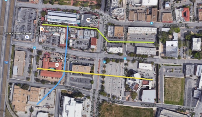 Three proposed paseos, or pathways, that would better connect San Pedro Creek to area resources: The green paseo would expand upon the existing Produce Row Paseo connecting it with the San Pedro Creek. The blue paseo would expand the existing Concho Paseo two blocks, connecting it with the third new paseo. The yellow paseo path would parallel the Produce Row paseo and connect with the San Pedro Creek, replacing the Central Texas Detention Facility. Image via Google Maps, edited by Alex Barrera.