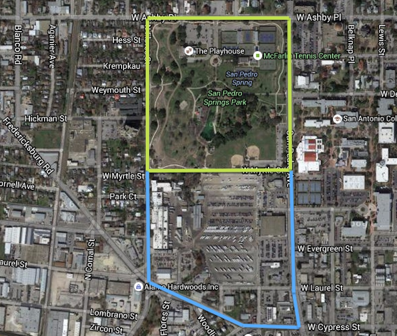 This rendering shows San Pedro Springs Park's current boundaries highlighted in green. I proposed expanding it (blue outline). This would extend the park to Fredericksburg Road, replacing pavement with green space, park monuments, playgrounds, a pond, and perhaps restaurant space for the park to lease replicating ideas drafted for Hemisfair Park's redevelopment. Image via Google Maps edited by Alex Barrera.
