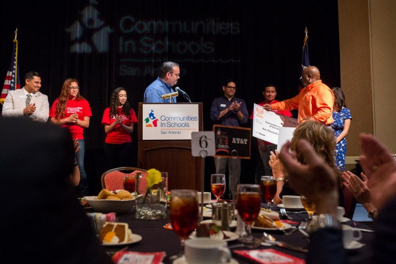 CIS students Ebony, Hector, and Rachel are given $1,000 scholarships from Whataburger. Photo by Scott Ball.