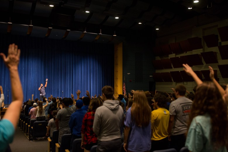 Rap artist Moses Uvere performs for Alamo Heights High School students before a talk about bullying. Photo by Scott Ball.