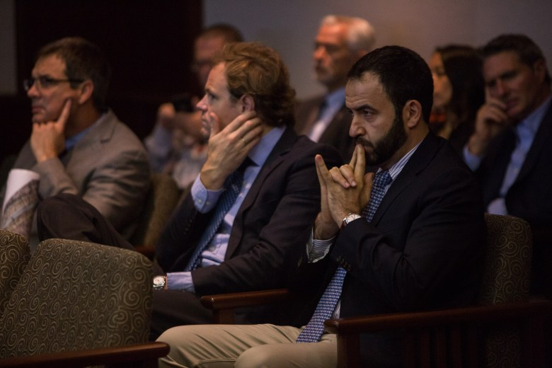 Director of Abengoa Vista Ridge Pedro Almagro sits in attendance during the board meeting. Photo by Scott Ball.