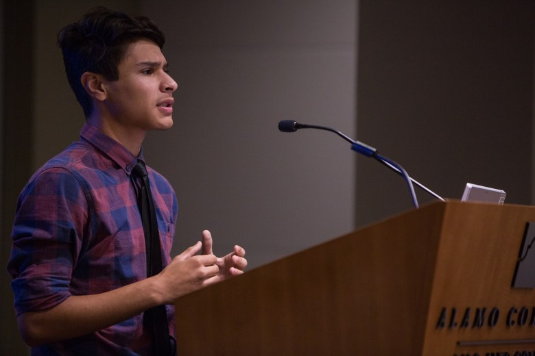 South San student Moises Hernandez addresses the audience with a personal story. Photo by Scott Ball.