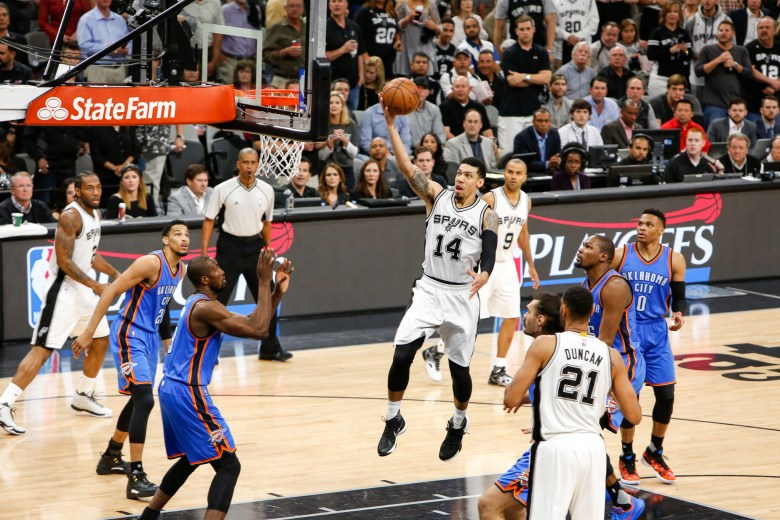 Spurs Guard #14 Danny Green drives the paint for a layup. Photo by Scott Ball.
