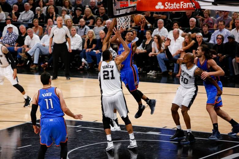 Thunder Guard #0 Russell Westbrook drives the paint for a layup. Photo by Scott Ball.