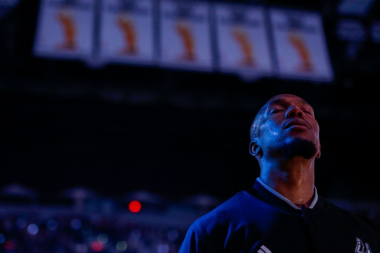 Spurs Forward #30 David West prepares during the National Anthem. Photo by Scott Ball.