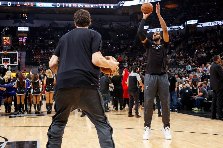 Spurs Forward #12 LaMarcus Aldridge warms up before the game. Photo by Scott Ball.