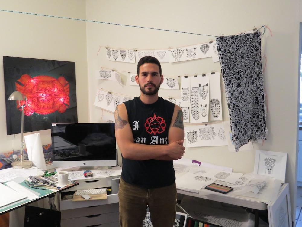 Jose Fidel Sotelo in his studio. Photo by David S. Rubin.