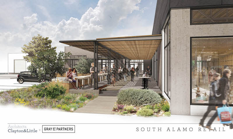 Rendering of South Alamo Retail. Image courtesy of Clayton&Little Architects.