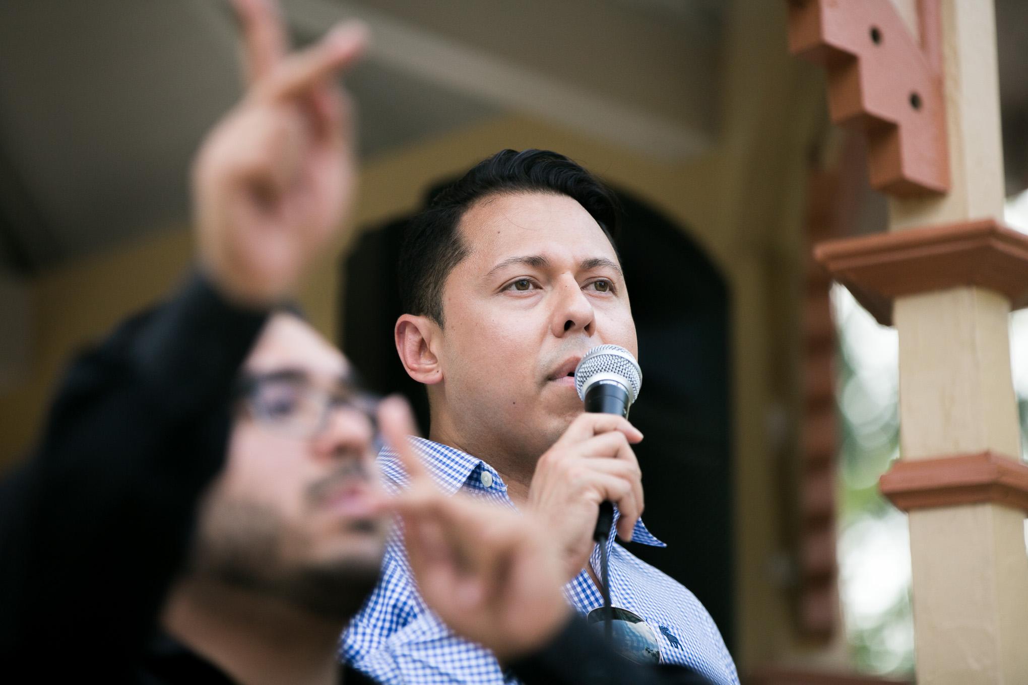 Equality Texas Vice Chair Julian Tovar speaks to the resiliance of San Antonio's LBGTQIA community. Photo by Kathryn Boyd-Batstone.