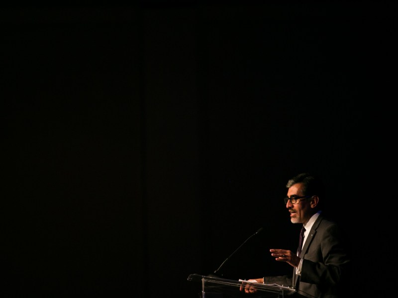 Mike Flores of Palo Alto College accepts the Community Service Award. Photo by Kathryn Boyd-Batstone.
