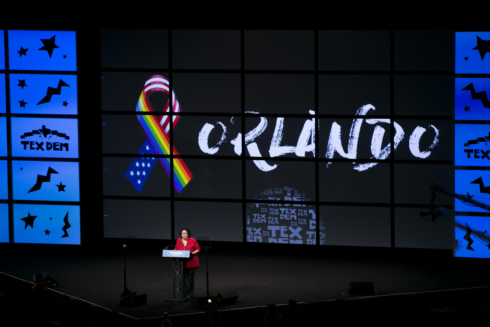 State Rep. Celia Israel calls for action instead of only a moment of silence for those who past in the Orlando, Fla. shooting. Photo by Kathryn Boyd-Batstone.
