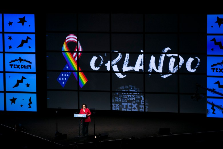 State Rep. Celia Israel calls for action and not a moment of silence for those who past in the Orlando, Fla. shooting. Photo by Kathryn Boyd-Batstone.