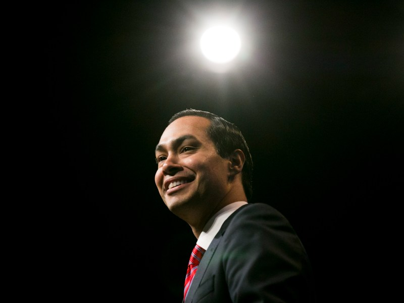 HUD Secretary Julián Castro takes the stage to speak about the importance of equal pay and opportunity for women. Photo by Kathryn Boyd-Batstone.
