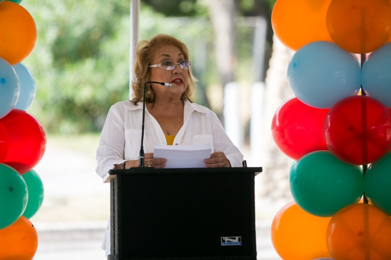SARA Board Member Lourdes Galvan addresses how the new trail will now expand the Howard W. Peak Greenway Trails System to Alazán Creek. Photo by Kathryn Boyd-Batstone.