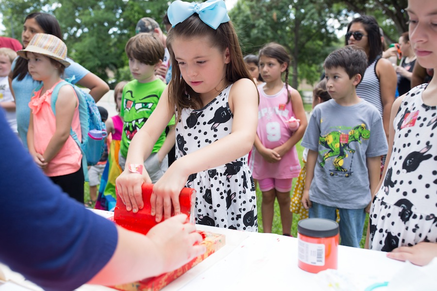 Vanessa Guerra, 7, learns how to screen print at The McNay Art Museum. Photo by Michael Cirlos.